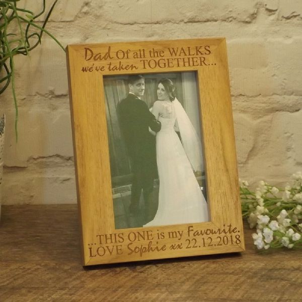 Personalised Dad Of All The Walks Wedding Picture, Wooden Photo Frame